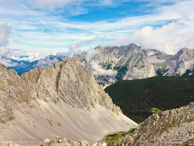 Panoramic views of the largest nature park of Austria, the Karwendel Alpine Park