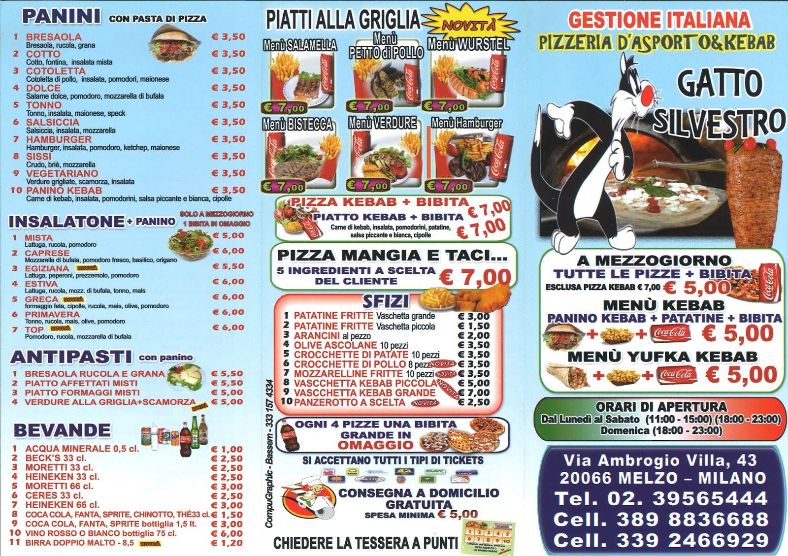 A Modo Mio Melzo menu e prezzi: pizzeria da asporto & kebab gatto silvestro a