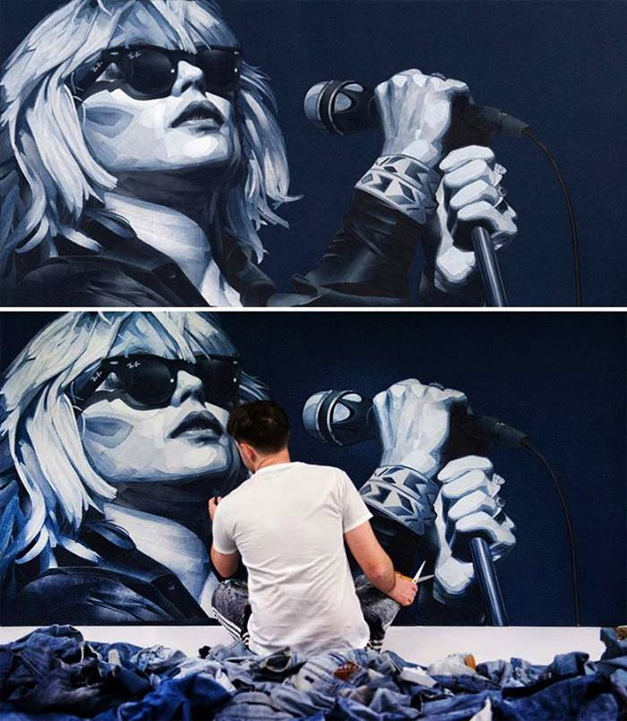 The artist uses denim to create realistic portraits of celebrities