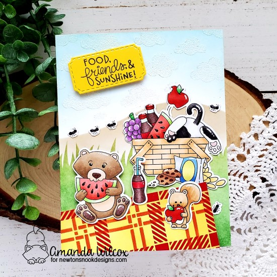 Picnic Card by Amanda Wilcox | Newton's Picnic Stamp Set, Woodland Picnic Stamp Set, Plaid Stencil Set, Hills & Grass Stencil and Cloudy Sky Stencil by Newton's Nook Designs #newtonsnook #handmade