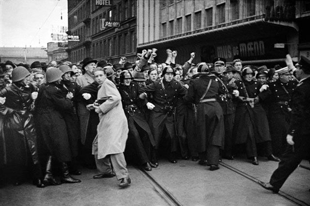 Protesters in Copenhagen, Denmark, in World War II worldwartwo.filminspector.com