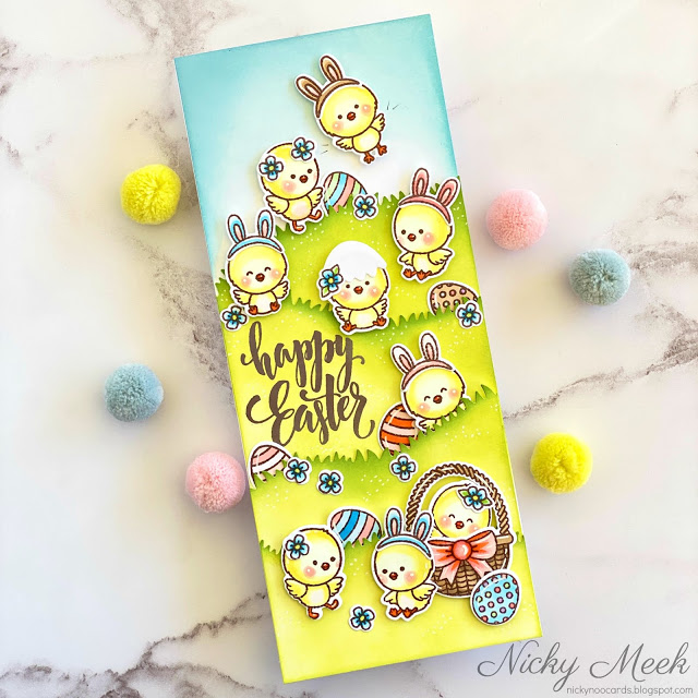 Sunny Studio Stamps: Chickie Baby Eyelet Lace Border Dies Easter Card by Nicky Meek