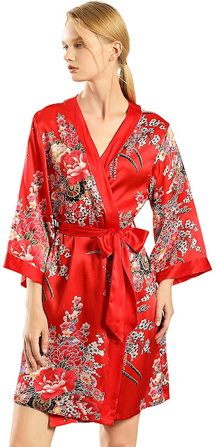 Good Quality Red Silk Robes For Women
