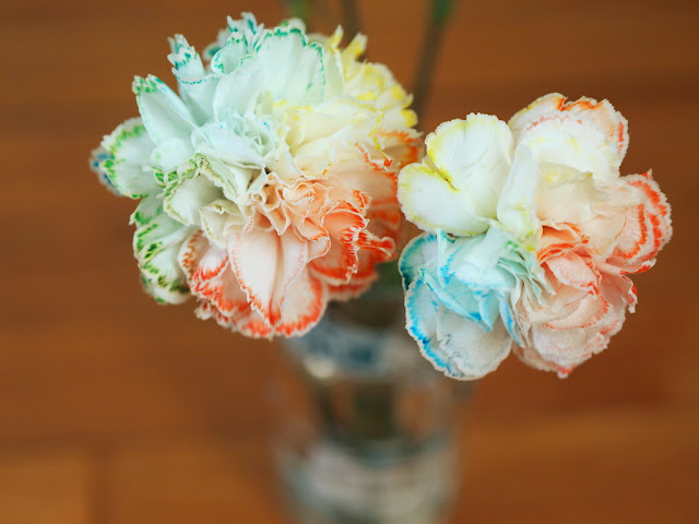 Make rainbow flowers with food coloring