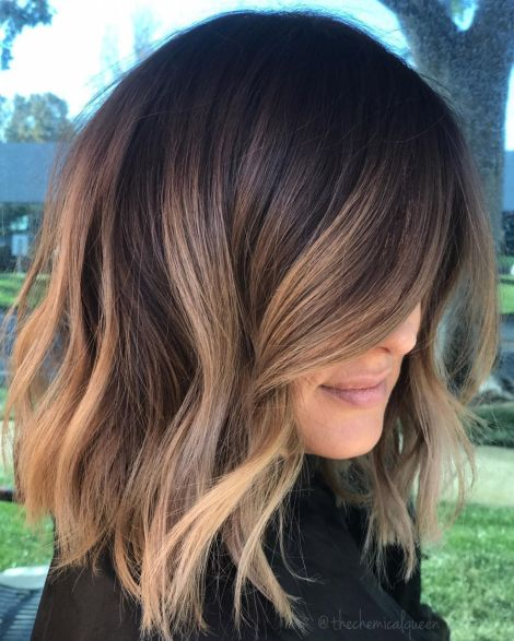 highlights hair idea dark brown lob with caramel highlights