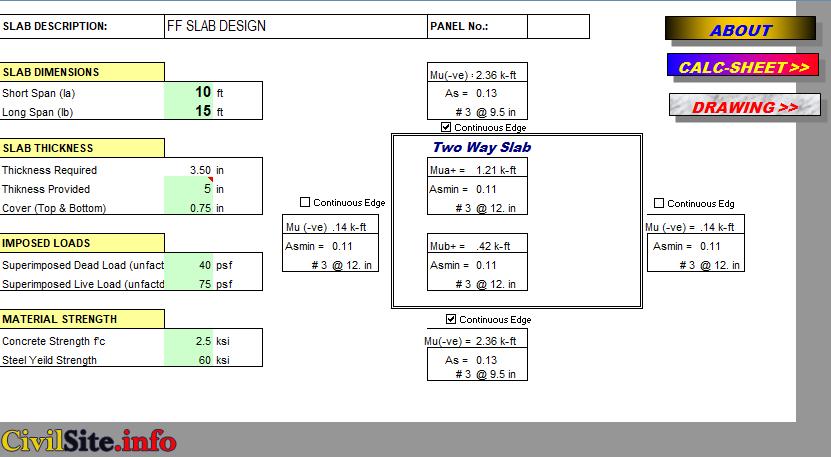 Slab design calculation excel sheet
