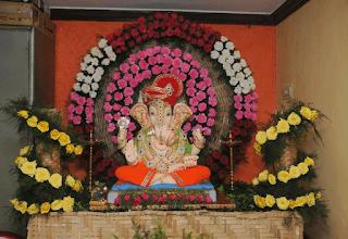Flower decoration of Ganapathi