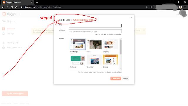Create a new blog.