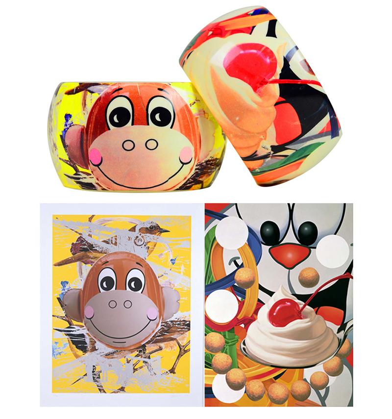 Loopy and Monkey Train art by Jeff Koons on Bangles by Lisa Perry