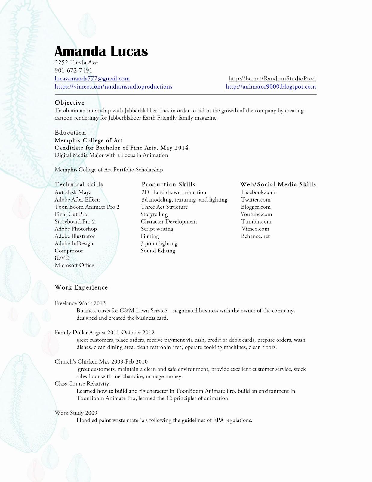 Senior Studio 1: Cover Letter and Resume for Jabberblabber Inc.