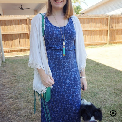 awayfromtheblue Instagram | navy printed maxi dress white crochet trim kimono green rebecca minkoff 5 zip bag
