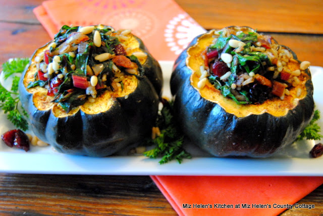 Roasted Acorn Squash with Swiss Chard and Wild Rice at Miz Helen's Country Cottage