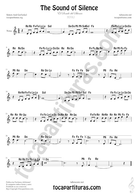 El Sonido del Silencio Partitura con Notas en Letra en español. The Sound of Silence Partituras de Flautas, Saxofón Tenor, Violín, Oboe, Trompeta, Clarinete, Corno Inglés, Corno Francés o Trompa, Saxofón Tenor o Soprano...