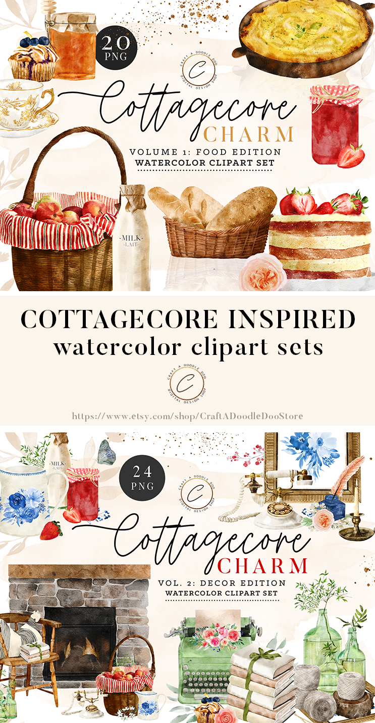 Watercolor Cottagecore Clipart Sets by Craft A Doodle Doo Digital Download PNG