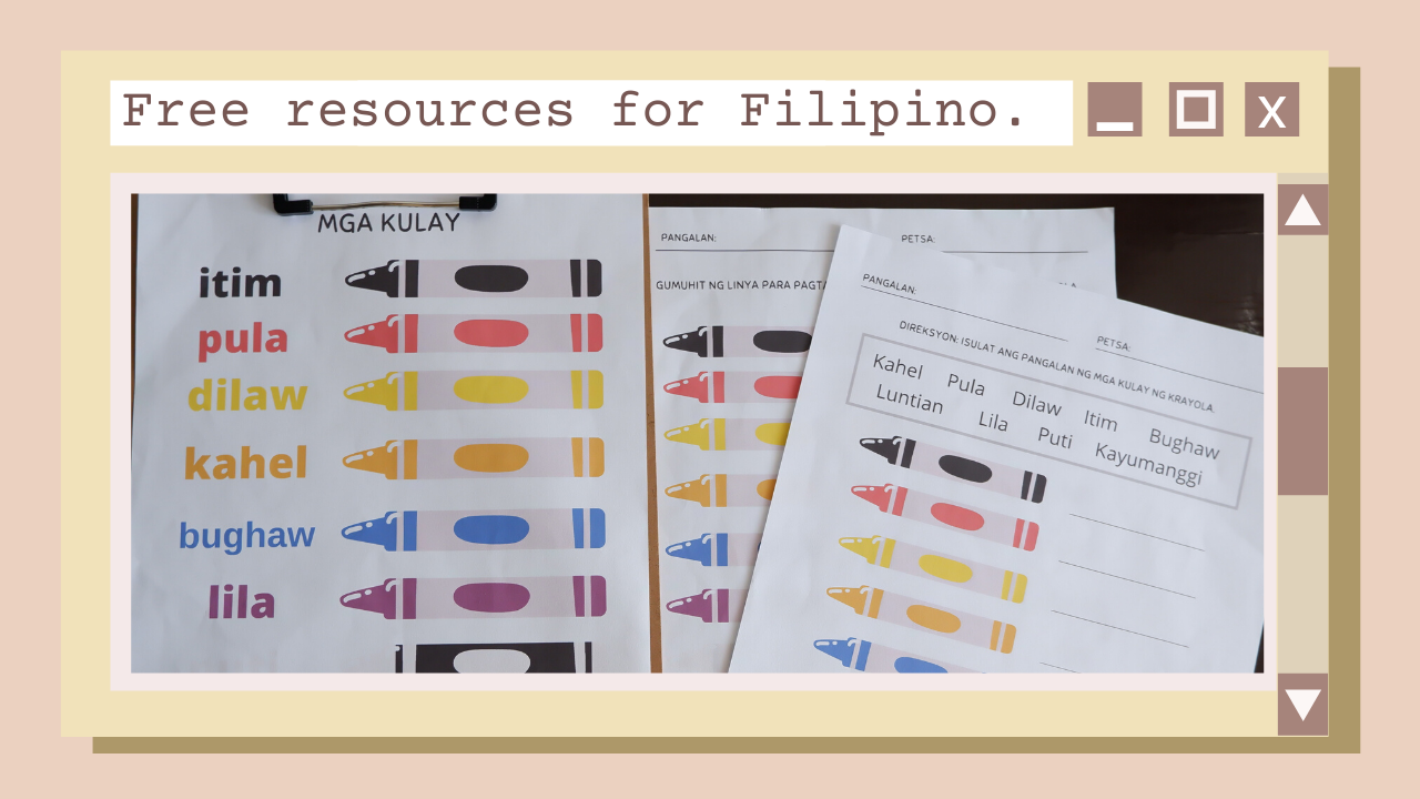 Hello, sharing free resources and worksheets for your preschoolers! Free worksheets for Filipino, english, math and spanish for kinder 2.
