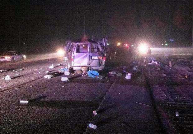 reedley fresno county four killed van semi truck crash american avenue