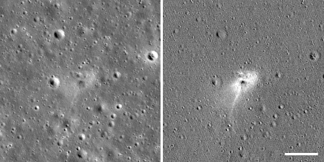 Left: Beresheet impact site. Right: An image processed to highlight changes near the landing site among photos taken before and after the landing, revealing a white impact halo. Other craters are visible in the right image because there is a slight change in lighting conditions among the before and after images. Scale bar is 100 meters. North is up. Both panels are 490 meters wide. Credits: NASA/GSFC/Arizona State University