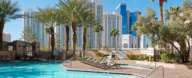 The Hilton Grand Vacations on Paradise Convention Center is surrounded by a desert oasis and located on the Strip with easy access to shops and dining.