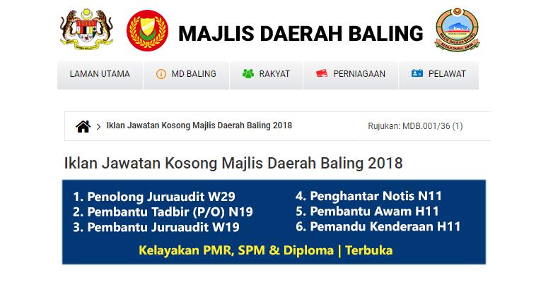 Jawatan Kosong di Majlis Daerah Baling 2018