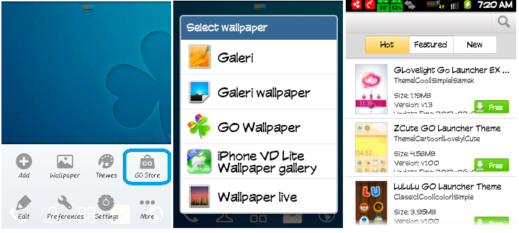 mendownload tema pada Go Launcher Ex