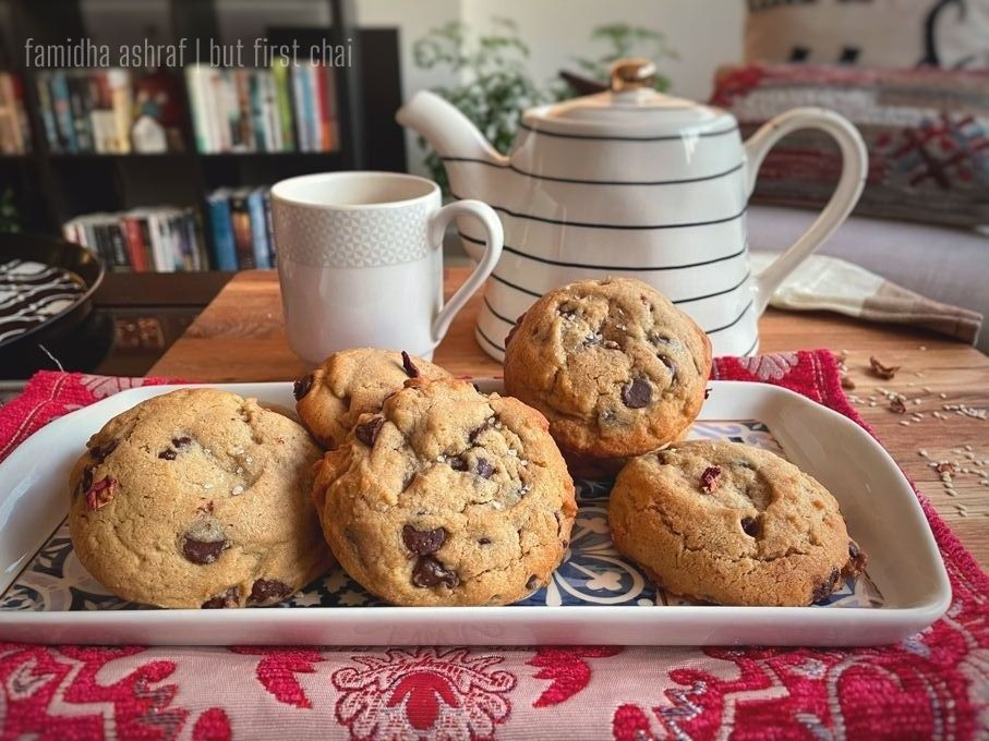 Tahini Chocolate Chip Cookies served with chai