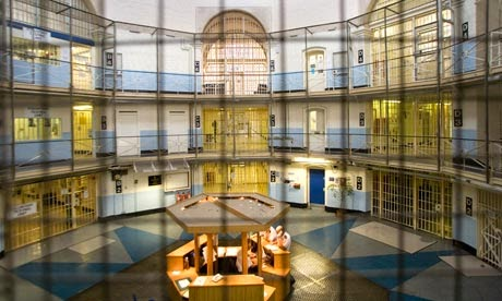 Wandsworth Prison Rotunda - showing doors of end-wing. (Photograph by Antonio Olmos from The Guardian)