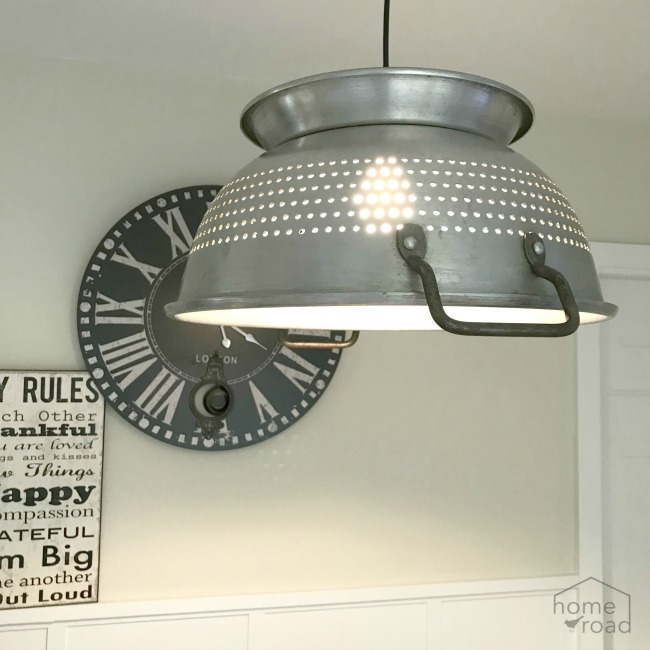 Hanging Farmhouse Colander Light
