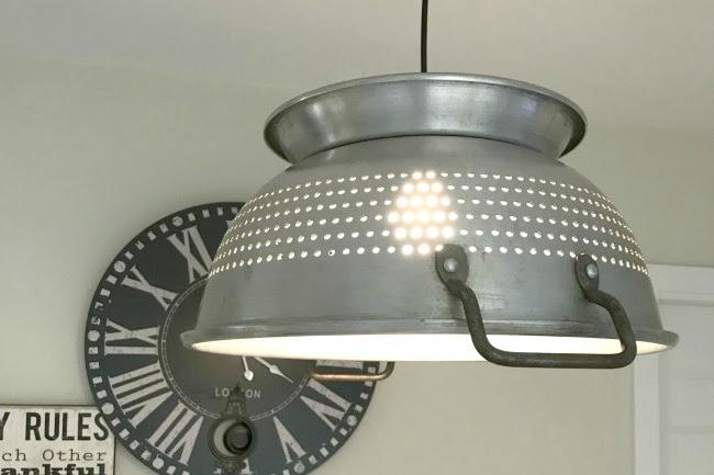 Hanging Farmhouse Colander Light