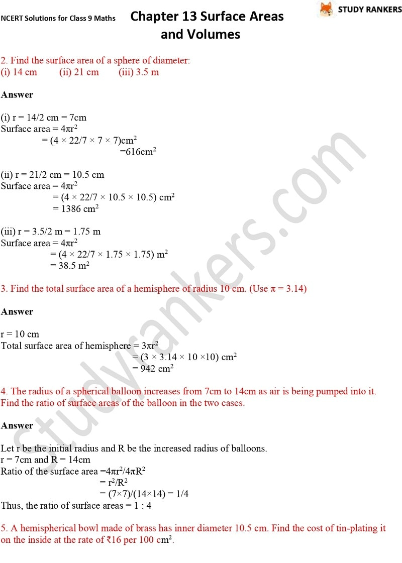 NCERT Solutions for Class 9 Maths Chapter 13 Surface Areas and Volumes Part 12
