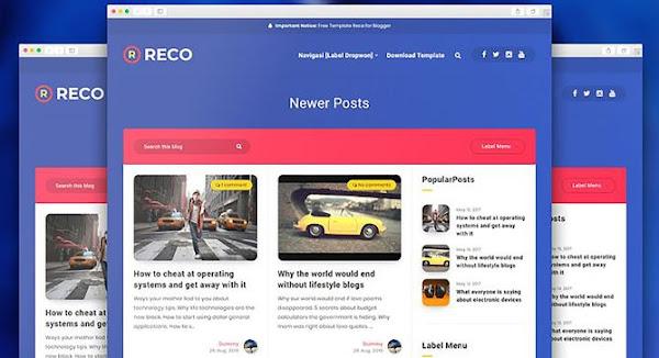 Reco v1.6 Responsive Premium Blogger Template Free