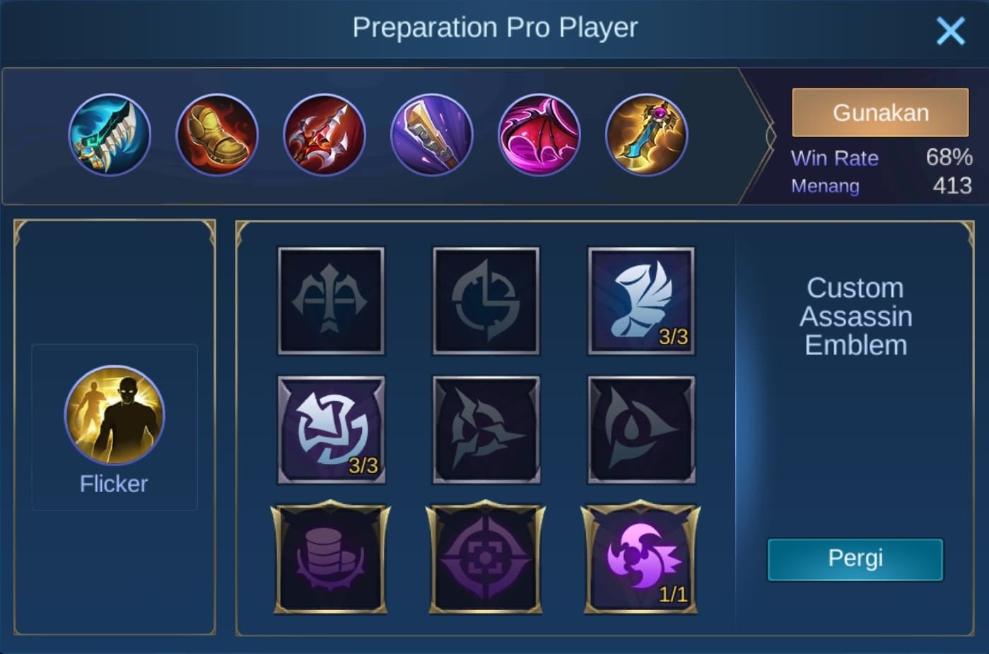 build item karrie mobile legends (ML)