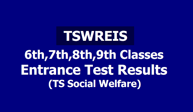 Tswreis 6th,7th,8th,9th classes Entrance test Results 2019 (Ts Social Welfare)
