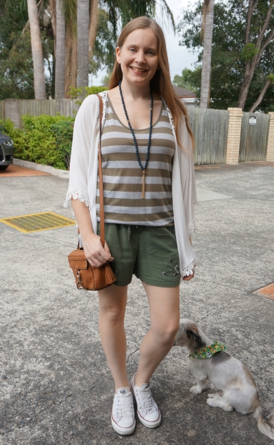 two shades of green in one outfit striped tank embroidered shorts and white kimono | away from blue