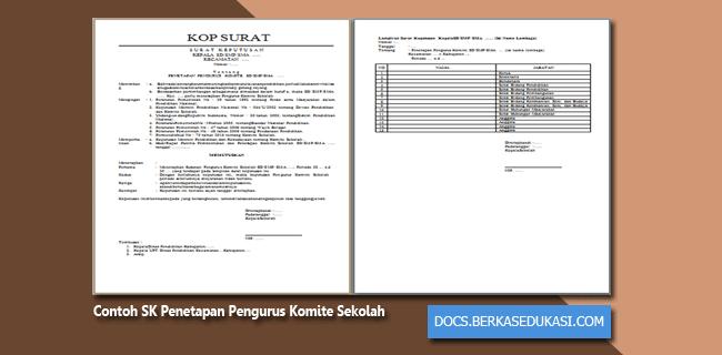Contoh SK Penetapan Pengurus Komite Sekolah