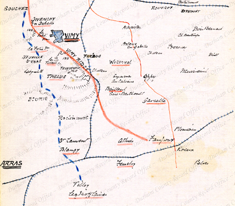 D/DLI 7/63/2(199) Map of the Arras and Vimy area drawn by Reverend Birch