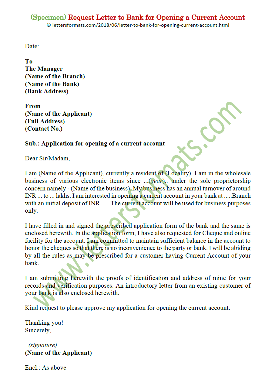 Request Letter to Bank for Opening a Current Account (Sample)