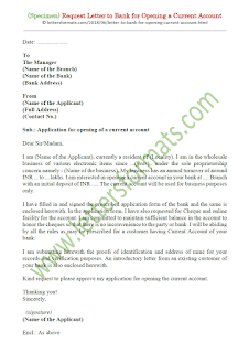 bank account opening format letter