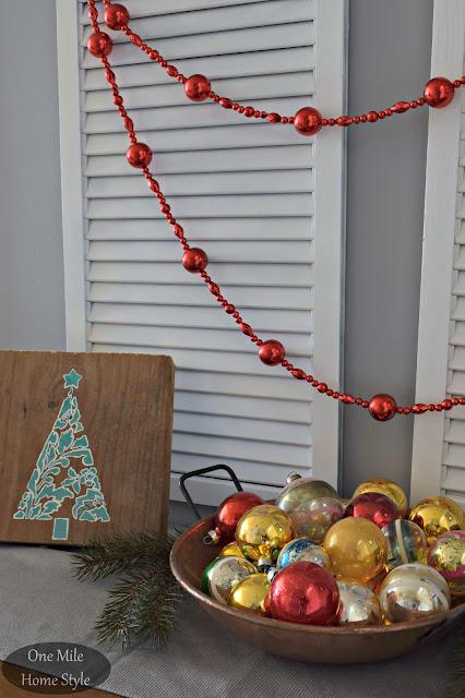 Vintage Christmas Ornaments Display Bowl | Christmas Home Tour - One Mile Home Style