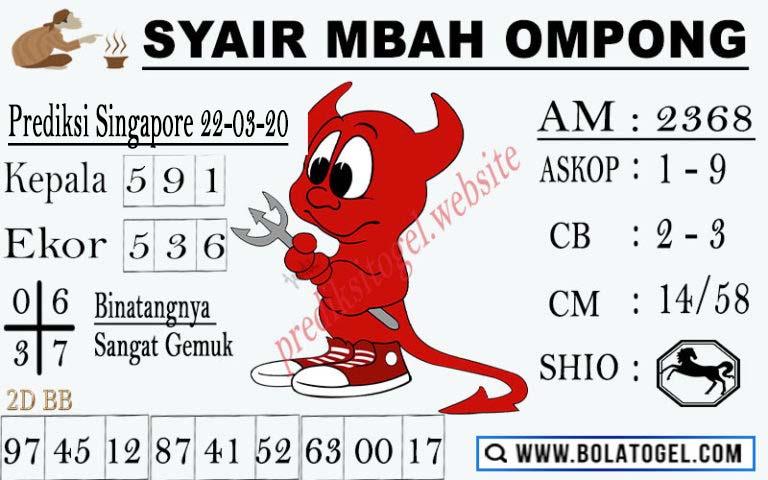 Prediksi Togel Singapura Minggu 22 Maret 2020 - Syair Mbah Ompong