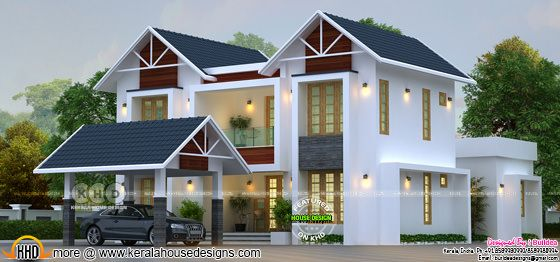 2336 square feet sloping roof mix house with 5 bedrooms