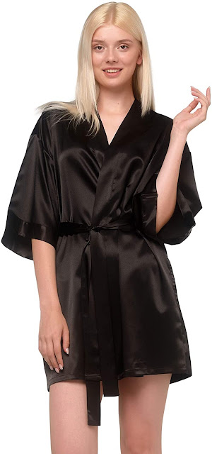 Shiny Black Satin Robes