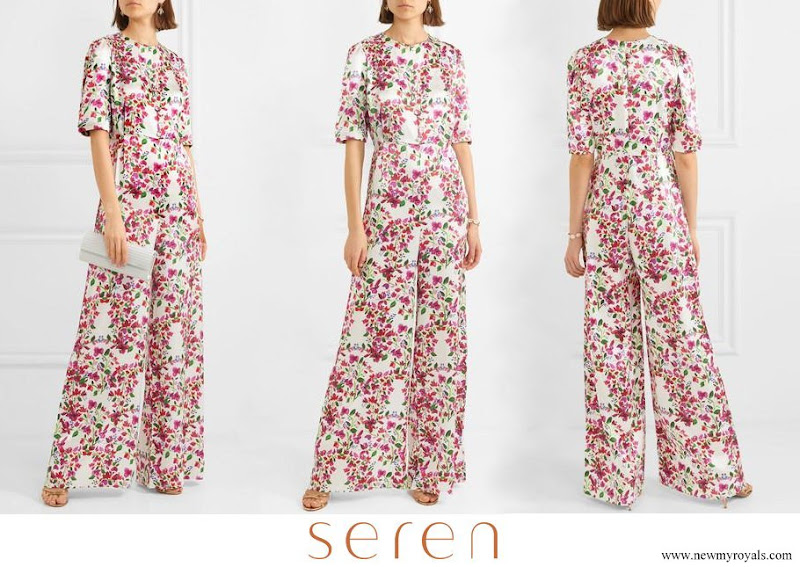 Queen Maxima wore Seren Truman Floral print silk satin half sleeve wide leg jumpsuit