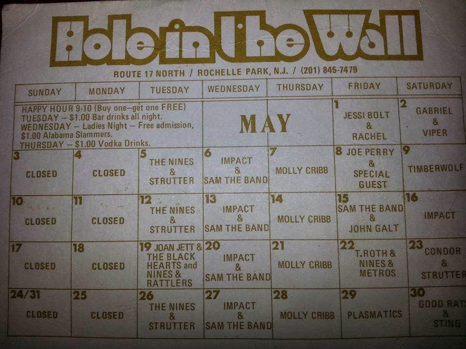 The Hole In The Wall calendar of bands