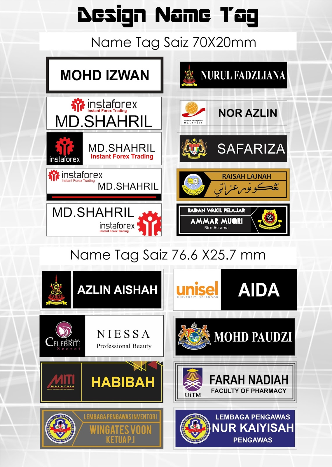 name tag supplier malaysia design name tag