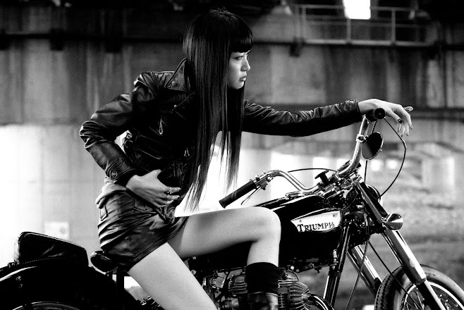 Triumph Twin Fashion Shoot - Black Leather Jacket and Miniskirt