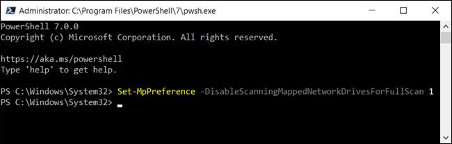 تعطيل عمليات مسح محرك أقراص الشبكة المعينة لـ Defender في PowerShell