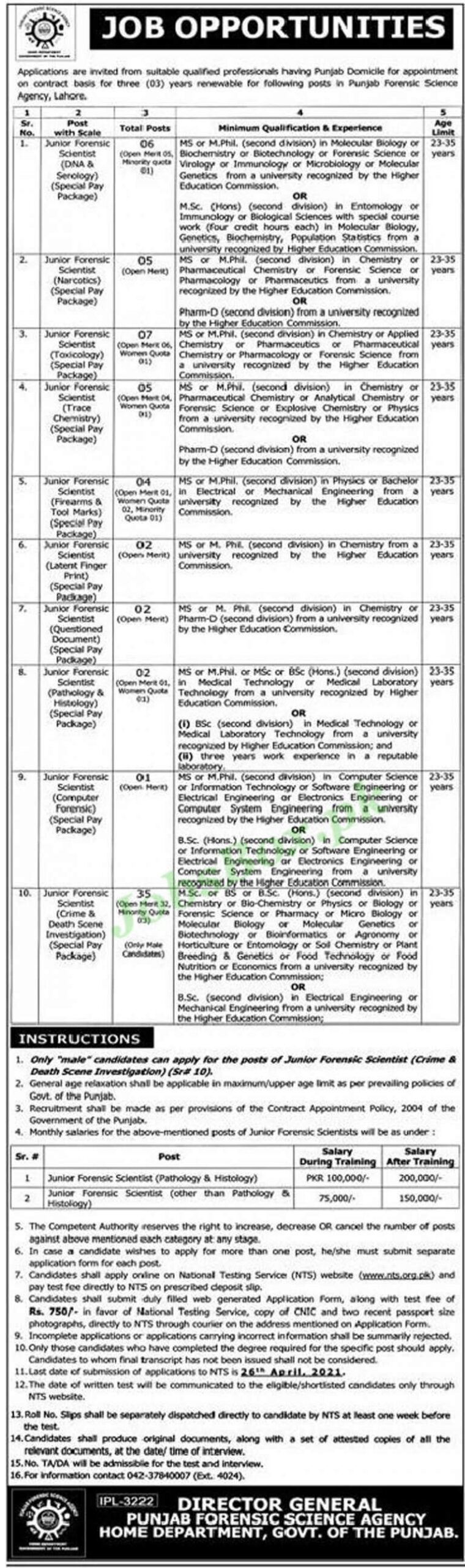 PFSA Jobs 2021 NTS | Punjab Forensic Science Agency Lahore Apply Online
