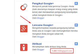 Lencana Google Plus Blogspot