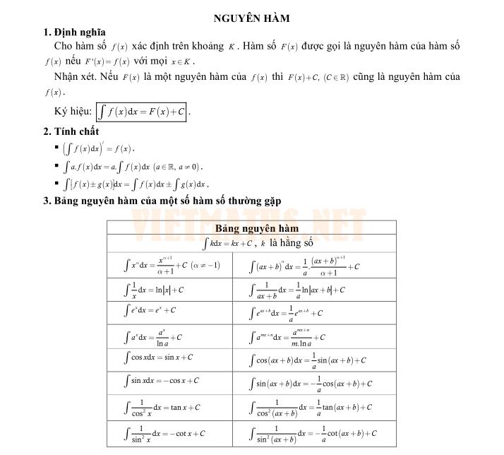 thế nào là một nguyên hàm của hàm số