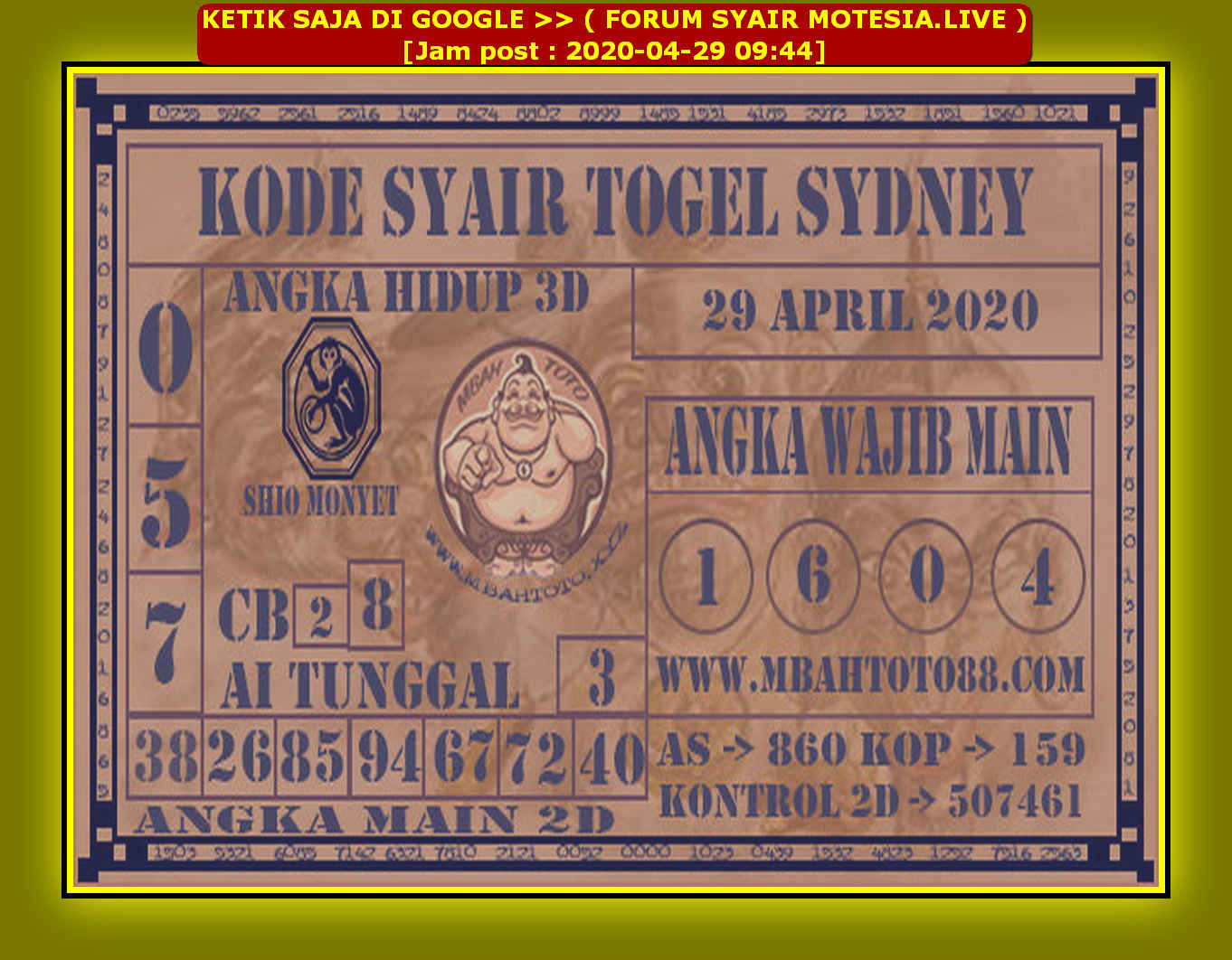 Kode syair Sydney Rabu 29 April 2020 95
